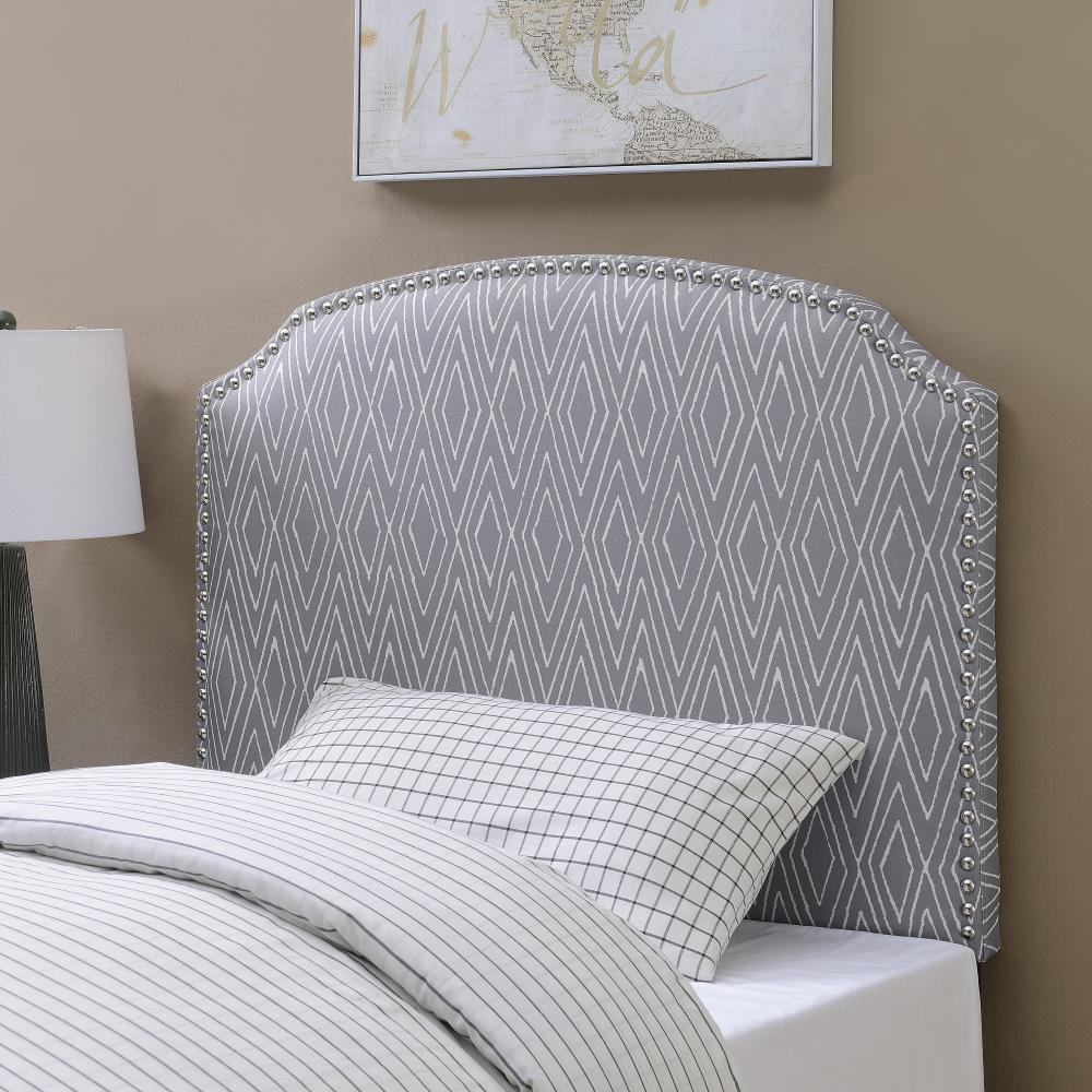 American woodcrafters simone gray twin patterned upholstered headboard