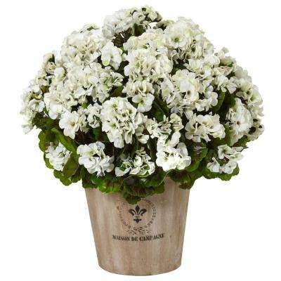 Indoor/Outdoor UV Resistant White Geranium Silk Flowering Plant in Farmhouse Planter