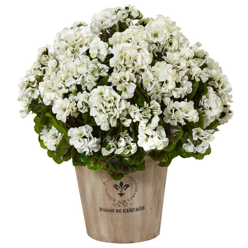 Indoor/Outdoor UV Resistant White Geranium Silk Flowering Plant in Farmhouse Planter