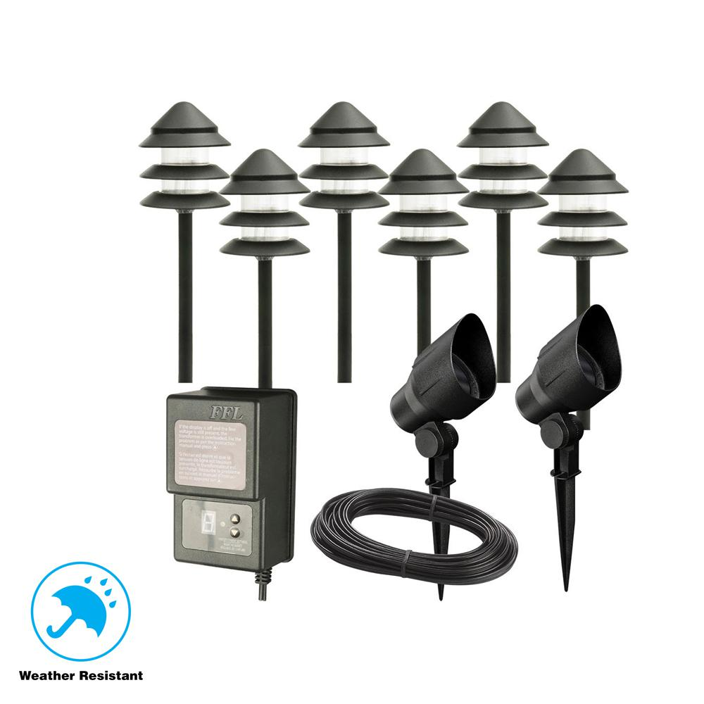 Hampton Bay Low Voltage Black Outdoor Halogen Landscape Path Light And Flood Kit With Transformer 8 Pack