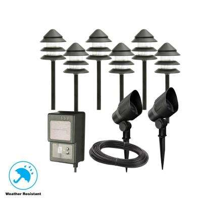 Low-Voltage Black Outdoor Halogen Landscape Path Light and Flood Light Kit with Transformer (8-Pack)