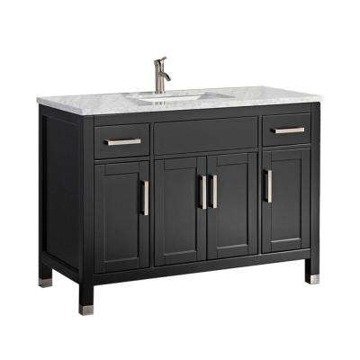 Reisa 60 in. W x 22 in. D x 36 in. H Bath Vanity in Espresso with Grey/White Carrara Marble Vanity Top with White Basin