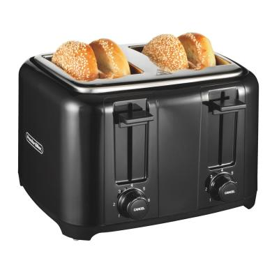 4-Slice Black Wide Slot Toaster with Crumb Tray and Automatic Shut-Off