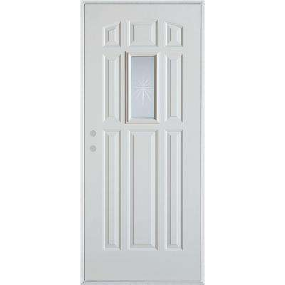 32 in. x 80 in. V-Groove Rectangular Lite 9-Panel Painted White Right-Hand Inswing Steel Prehung Front Door
