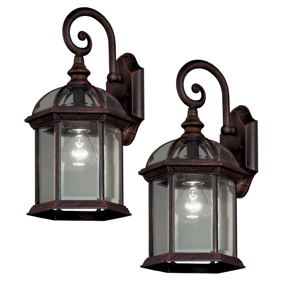 Hampton Bay Twin Pack 1-Light Weathered Bronze Outdoor Lantern ...