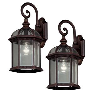Hampton Bay Twin Pack 1-Light Weathered Bronze Outdoor Lantern by Hampton Bay