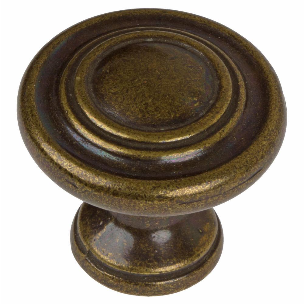 GlideRite 1-1/4 in. Dia Antique Brass Classic Round Ring Cabinet Knob (10-Pack)