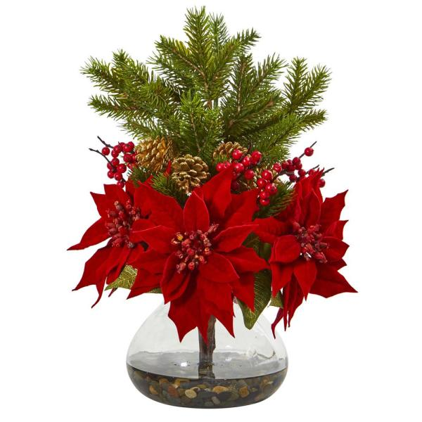17in. Poinsettia, Berry and Pine Artificial Arrangement in Vase