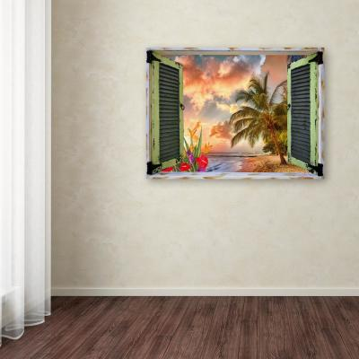 """35 in. x 47 in. """"Tropical Window to Paradise IV"""" by Leo Kelly Printed Canvas Wall Art"""