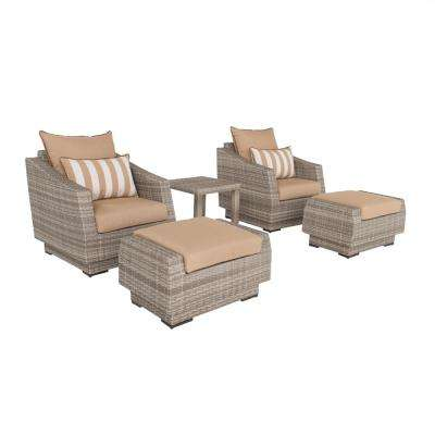 Cannes 5-Piece All-Weather Wicker Patio Club Chair and Ottoman Conversation Set with Maxim Beige Cushions