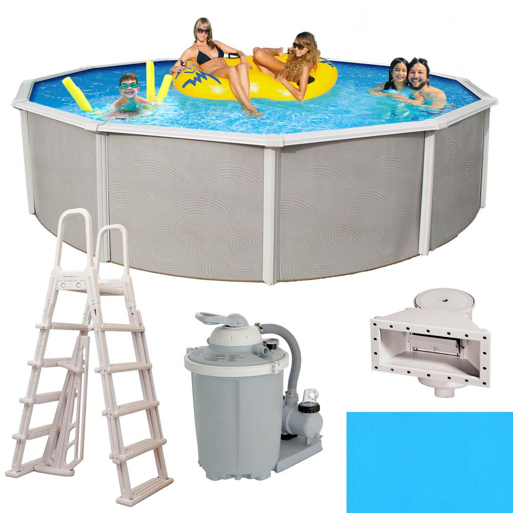 Blue Wave Belize 15 ft. Round x 52 in. Deep Metal Wall Above Ground Pool  Package with 6 in. Top Rail