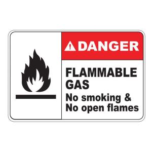 Rectangular Plastic Danger Flammable Gas Safety Sign by