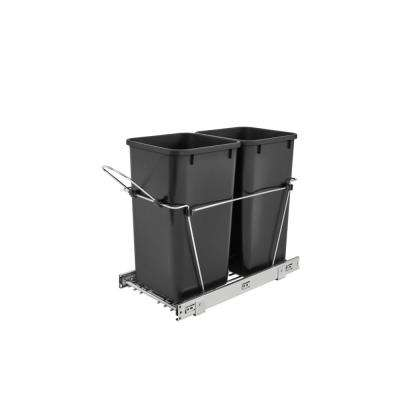 19.25 in. H x 11.81 in. W x 22.25 in. D Double 27 Qt. Pull-Out Black and Chrome Waste Container