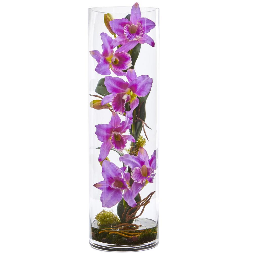 20 in. High Cattleya Lavender Orchid Artificial Floral Arrangement in Cylinder Vase