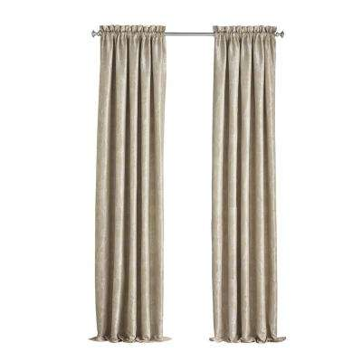 Mallory Blackout Floral Window Curtain Panel in Cafe - 52 in. W x 108 in. L
