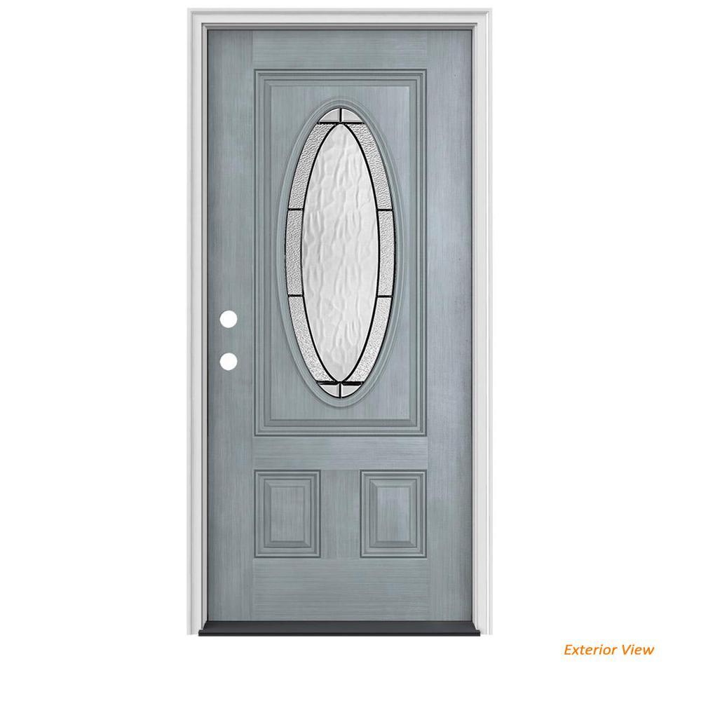 Jeld wen 36 in x 80 in 3 4 oval lite wendover stone - Jeld wen fiberglass exterior doors ...
