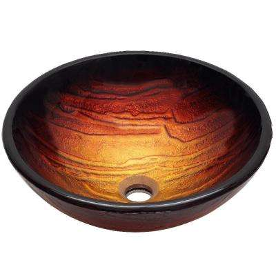 Cathedral Glass Vessel Sink Toned in Golden Yellow and Rustic Copper