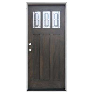 36 in. x 80 in. Ash Right-Hand Inswing 3-Lite Triple Pane Decorative Glass Stained Mahogany Prehung Front Door