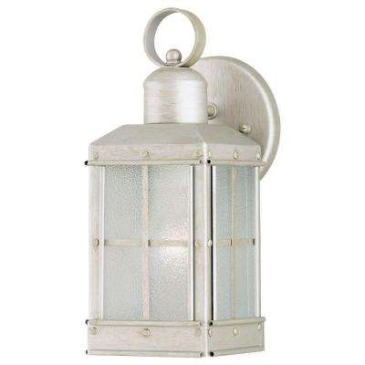 1-Light Outdoor Pewter Patina Wall Lantern with Ice Glass Panels