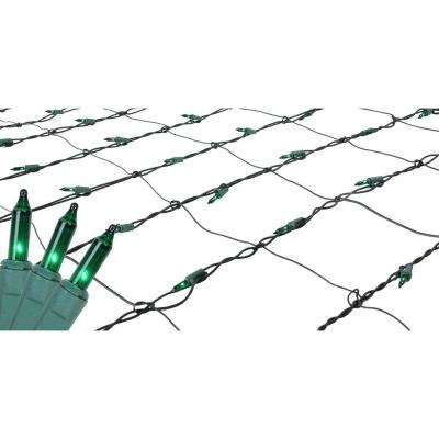 4 ft. x 6 ft. Green Mini Net Style Christmas Lights with Green Wire