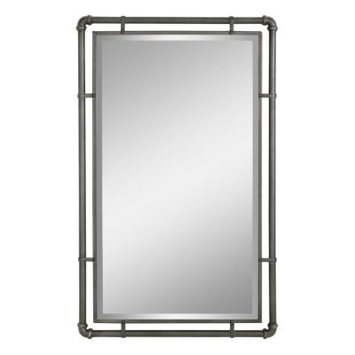 Medium Rectangle Gray  Beveled Glass Mirror (33 in. H x 20.5 in. W)