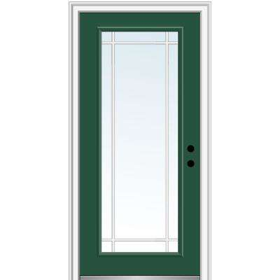 36 in. x 80 in. Internal Grilles Left-Hand Inswing Full Lite Clear Painted Fiberglass Smooth Prehung Front Door