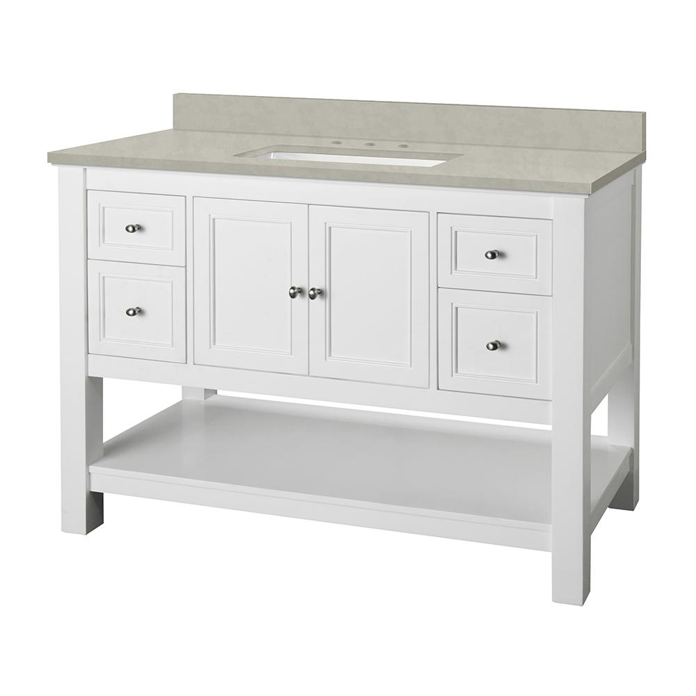 Home Decorators Collection Gazette 49 in. W x 22 in. D Vanity Cabinet in White with Engineered Marble Vanity Top in Dunescape with White Sink