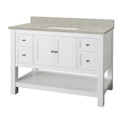 Gazette 49 in. W x 22 in. D Vanity Cabinet in White with Engineered Marble Vanity Top in Dunescape with White Sink