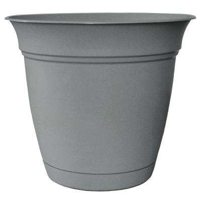 Belle 12 in. Dia. Stormy Gray Plastic Planter with Attached Saucer