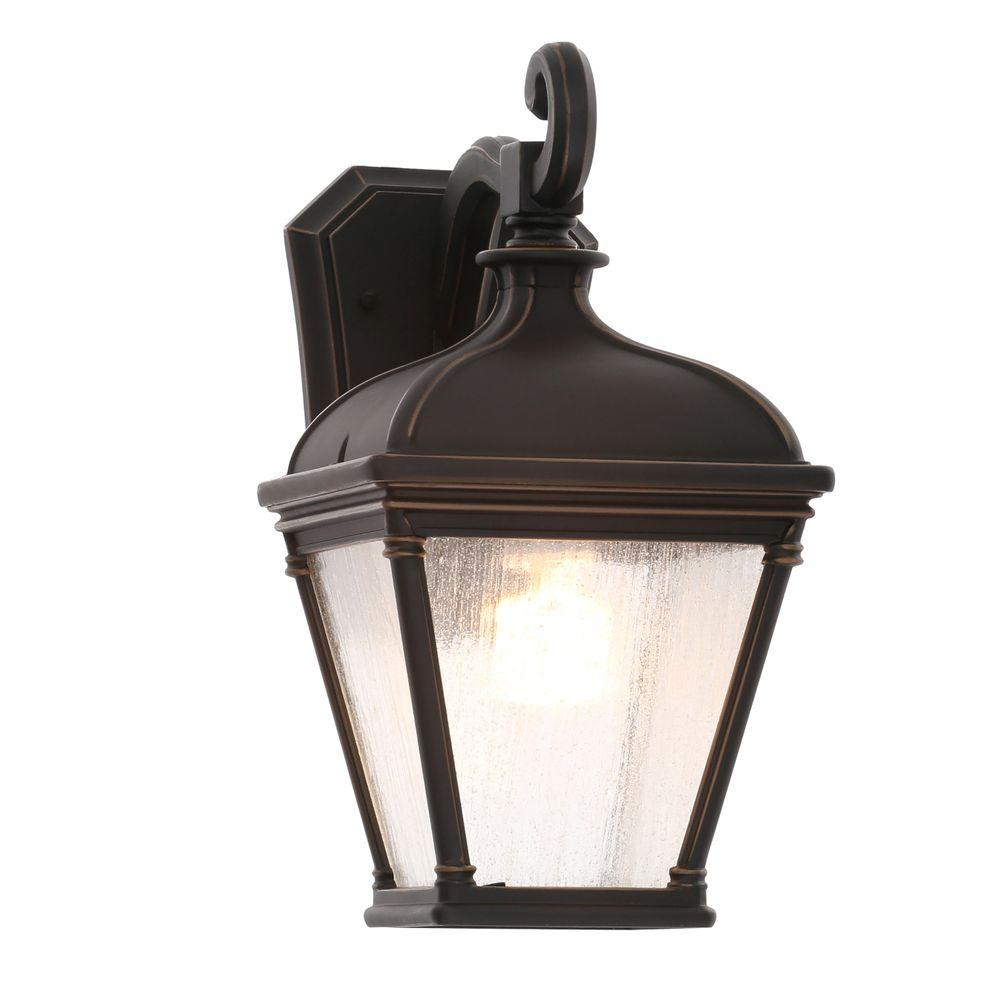 Hampton bay malford dark rubbed bronze outdoor wall mount lantern 23082 the home depot for Exterior wall mounted lanterns