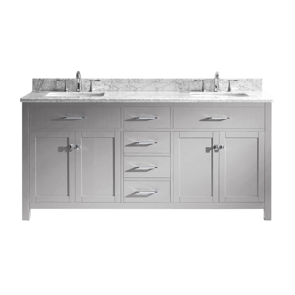 Caroline 72 in. W Bath Vanity in Cashmere Gray with Marble
