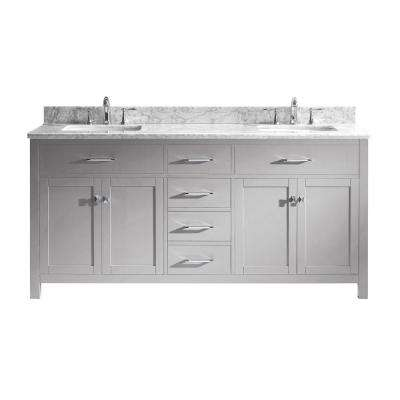 Caroline 72 in. W Vanity in Cashmere Grey with Marble Vanity Top in White with Square Basin in White