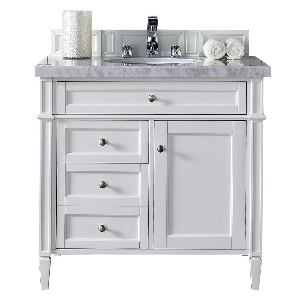Exceptional James Martin Signature Vanities Brittany 36 In. W Single Vanity In Cottage  White With Marble