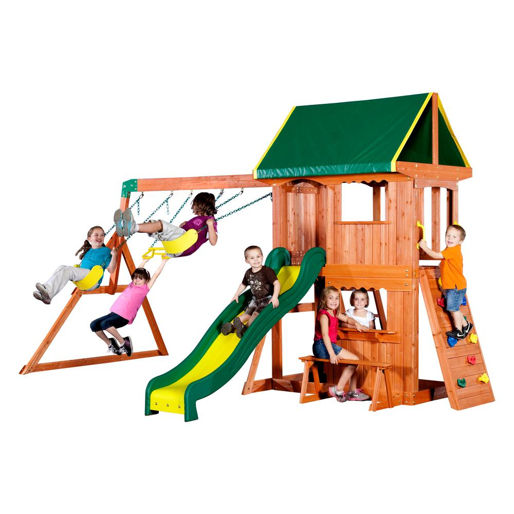 Backyard Discovery Cedar View Swing Set backyard discovery somerset all cedar playset-65012com - the home depot