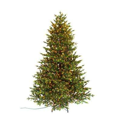 pre lit led elegant natural fir quick set artificial christmas tree with - Pre Lit And Decorated Christmas Trees
