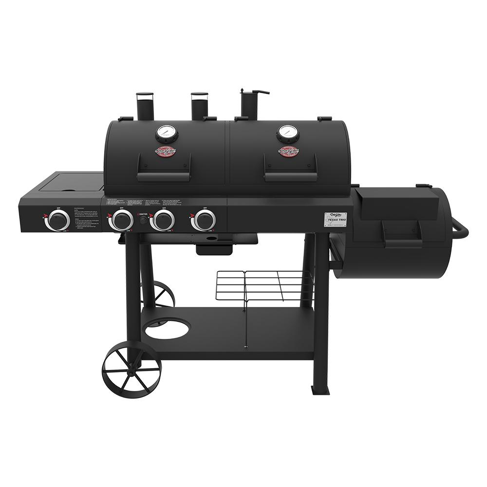 Char Griller Texas Trio 3 Burner Dual Fuel Grill With Smoker In Black