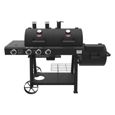 Texas Trio 3-Burner Dual Fuel Grill with Smoker in Black