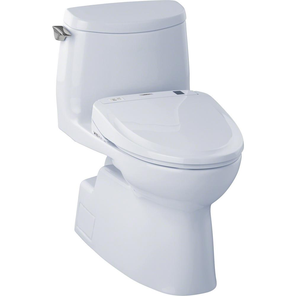 Toto Carlyle Ii Connect 1 Piece 1 0 Gpf Elongated Toilet With Washlet S300e Bidet And Cefiontect In Cotton White Mw614574cufg 01 The Home Depot