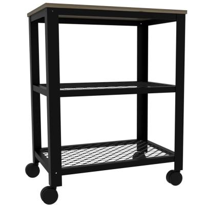 Emery 30 in. x 23 in. Natural Wood Kitchen Cart with Plated Steel Frame