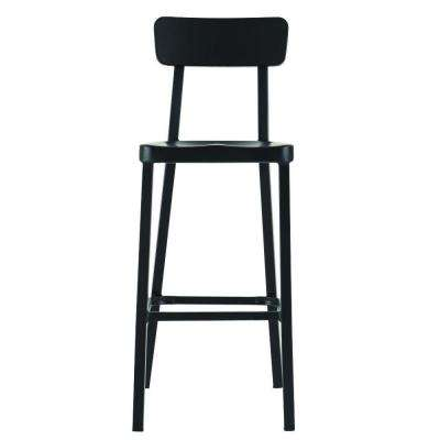 Jacob 30 in. Black Bar Stool with Back