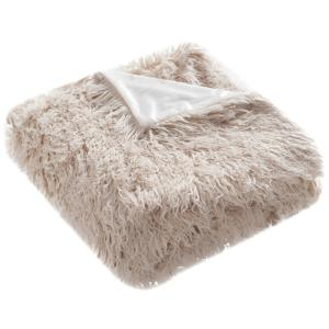 Faux Sheepskin 50 in. x 60 in. Taupe Throw