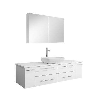 Lucera 60 in. W Wall Hung Vanity in White with Quartz Stone Vanity Top in White with White Basin and Medicine Cabinet
