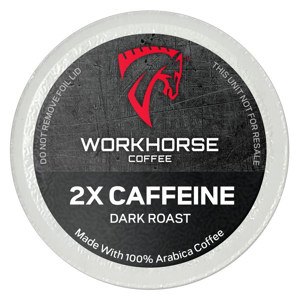 workhorse coffee 2x caffeine coffee pods  144 single serve cups per box -whc0214400ct