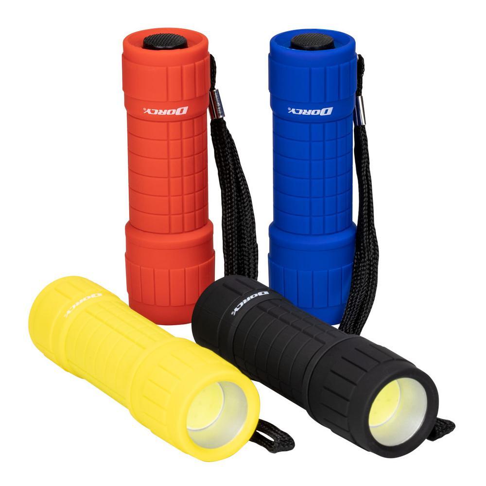 4 AAA COB LED Rubberized Flashlight, 4-Colors (4-Pack)