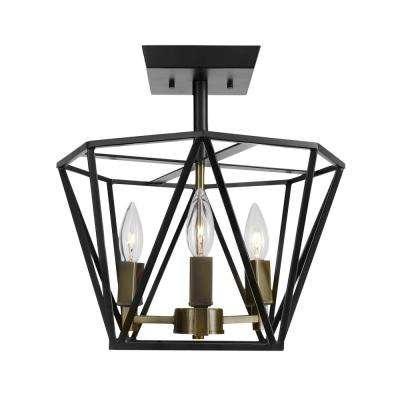Sansa 3-Light Dark Bronze Semi-Flush Mount