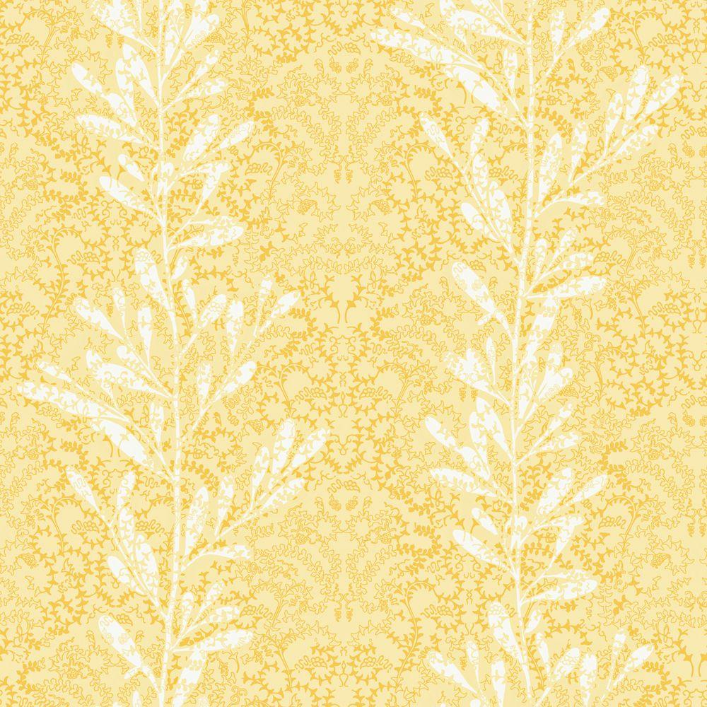 The Wallpaper Company 56 sq. ft. Yellow Vertical Stripe of Leaves on a Textured Background Wallpaper