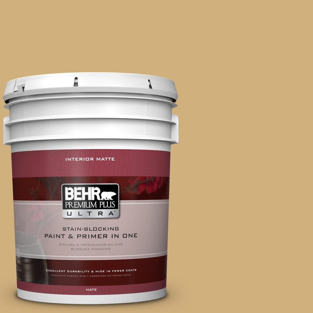 BEHR Premium Plus Ultra 5 gal. #PPU6-15 Romanesque Gold Flat/Matte Interior Paint