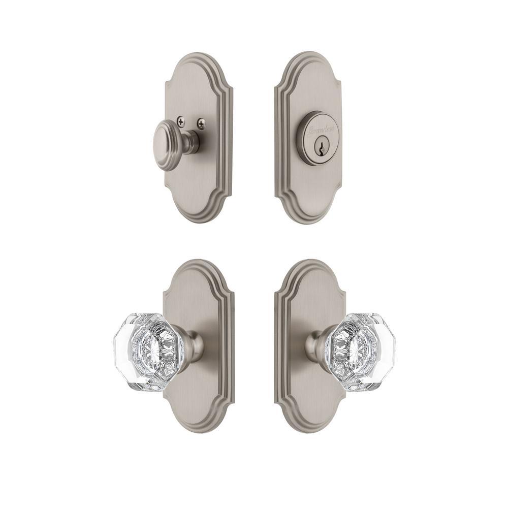 Arc Plate 2-3/4 in. Backset Satin Nickel Chambord Crystal Door Knob with Single Cylinder Deadbolt