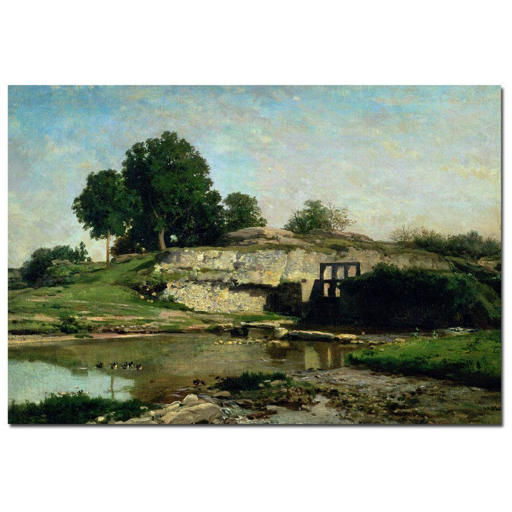 Trademark Fine Art 22 in. x 32 in. The Lock at Optevoz 1859 Canvas Art