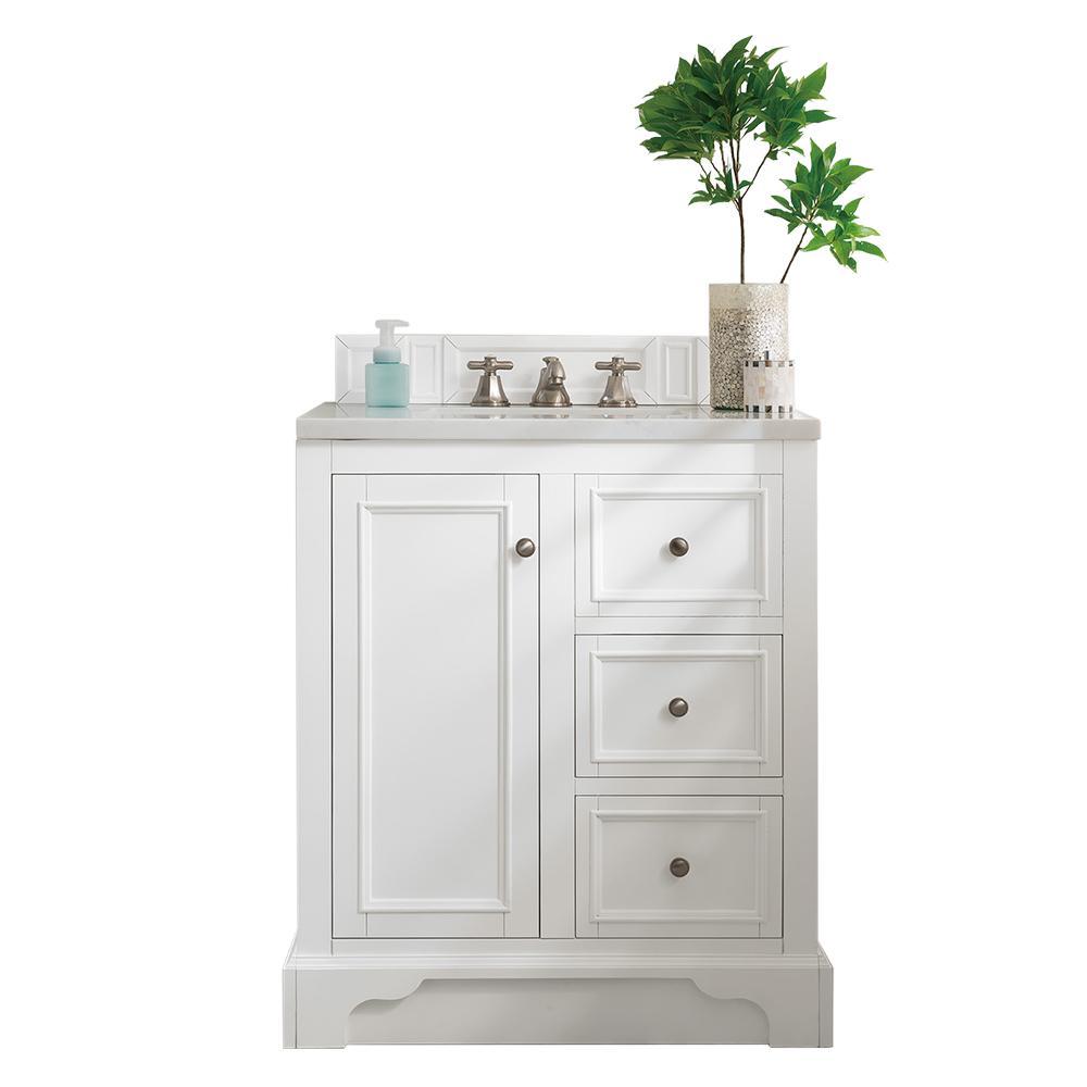 De Soto 30 in. W Single Vanity in Bright White with Marble Vanity Top in Carrara White with White Basin